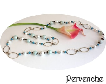 Necklace mesh beads, satin Periwinkle Blue shades
