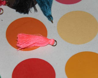 Bronze 2 PomPoms neon pink tassels with ring