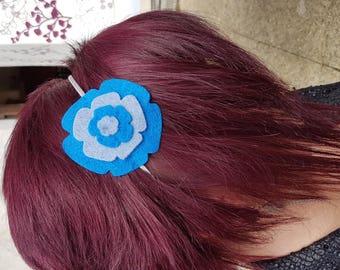 Blue felt flower headband
