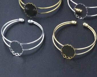 Adjustable Brass Bracelet With 18x25mm Base Setting Pad,BRACELET Bezel Blanks - Shallow Bracelet Blanks - Cuff Bracelet Blank