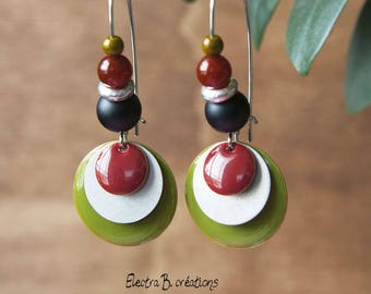 Earrings long Khaki, silver, red and black sequin