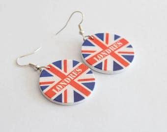 Wood English flag earrings