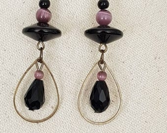 Purple Pearl cat eye faceted drops earrings