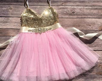 SALE Pink and gold birthday tutu dress, pink and gold 1st birthday dress, pink and gold flower girl dress