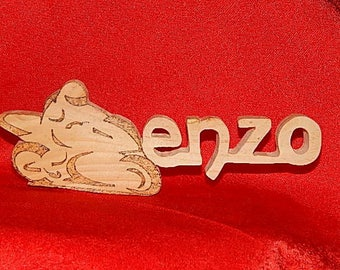 Name Enzo in raw wood pallet with motorcycle design