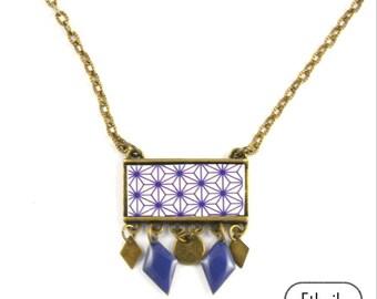 collier papier motif asie bleu