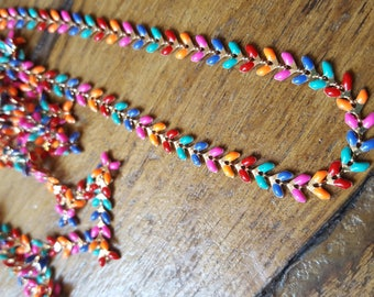 20cm chain fancy gold and multicolor