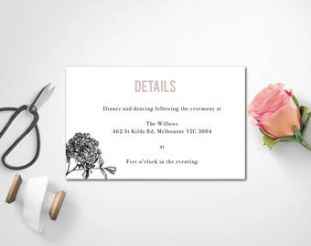 Wedding Details | Reception Details | Ceremony Details | SAMARA - Details Card