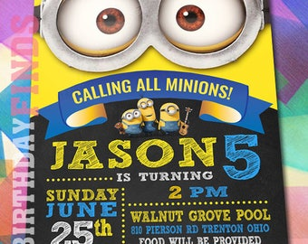MINION INVITATION with FREE Thank you card! Minion Party Invitation, Minion Birthday Invitation, Minion Birthday Party Invite