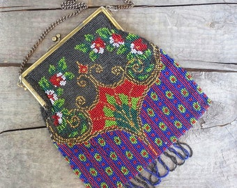 Art Deco Beaded Purse, Handbag, Made in Germany, 1930s