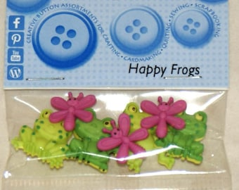 Set of 7 novelty buttons - frogs and dragonflies.