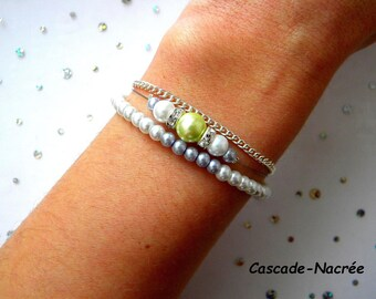 purple flower lime silk silver Pearl bridal bracelet wedding Eden Green