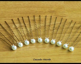 10 white silver Bridal jewelry Pearl wedding hair pins