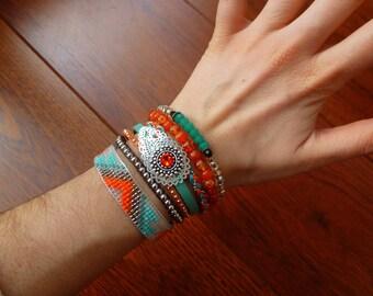 Multi strand Cuff Bracelet Turquoise and Orange