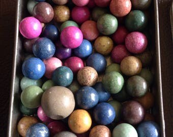 Tin of Multi Coloured Clay Balls/Marbles/Markers