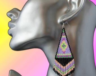 novelty earrings ethnic Native American Navajo novel woven neon miyuki beads