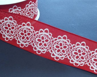 """FREE SHIPPING- 2.5"""" Wired Red and White Lace Pattern Linen Ribbon - 5 Yards"""