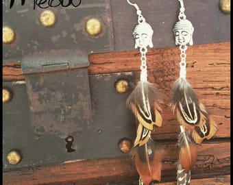 """Earring has feathers """"Silver plated Buddha"""""""