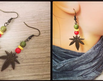 "Earring ""In red yellow green Cannabis"""