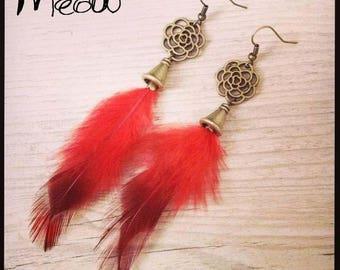"""Earring bronze """"Red flower"""""""