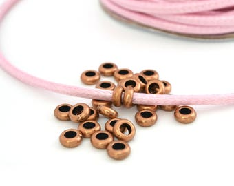 10 washers beads copper large hole metal 7x3mm