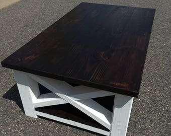 PINE COFFEE TABLE // Trestle Style Coffee Table