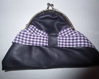 wallet in dark purple leatherette and gingham bow