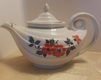 Hall Red Poppy Aladdin Teapot with Lid and Infuser, Vintage