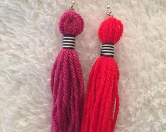 Colour Block Tassel Earrings / Statement Earrings
