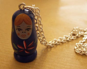 Blue Russian doll necklace