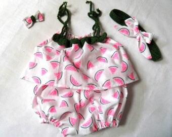 Baby top headband hairclip printed watermelon bloomer set