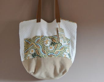 Tote bag chic velvet and cotton, recycled textile
