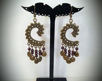 Bronze renaissance earrings Eggplant