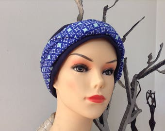 Vintage blue and turquoise Jersey turban headband
