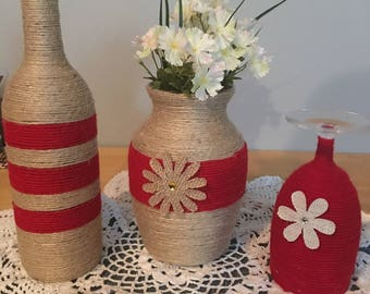 Set of 3 yarn and twine hand wrapped vase, wine bottle and glass