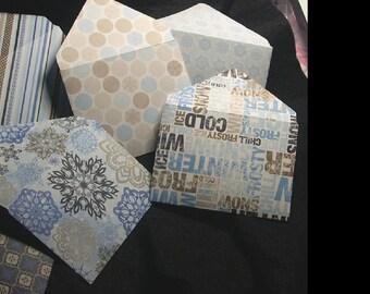 6 petites enveloppes cartonnées  fantaisie -  bleu et beige-  fait main