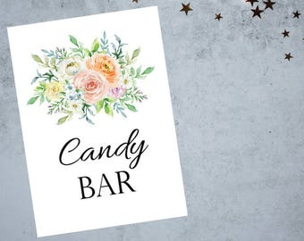 Candy Bar Sign 8x10 and 5x7 size Printable PDF, Soft Floral Watercolor Sign, Bridal Shower Sign, Wedding Reception Sign - Printable PDF