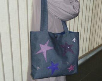 Blue denim with stars shoulder Tote