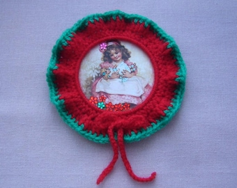 A Christmas decoration to hang handmade crochet - vintage red and green wool - rhinestones