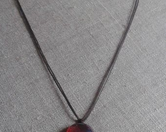 Red cabochon and Pearl Necklace