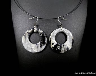 Black and gray Silver earrings