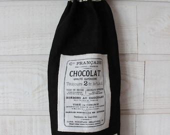 Bag bags (No. 60) black linen / chocolate