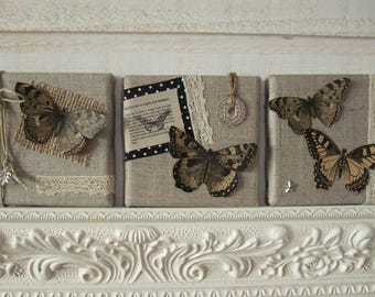 Two linen canvas triptych Deco Butterfly