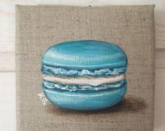 Painting macaroon on linen (turquoise)