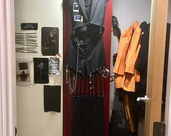 Handmade Punk Pinstripe Two-Piece Tail Suit (Sleeveless Jacket and Shorts) with Polaroids and Chains