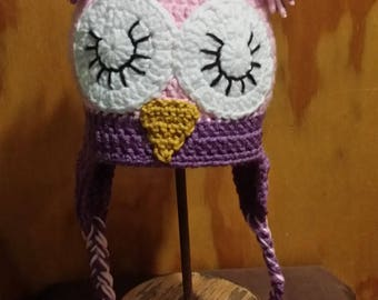Pink Crochet Closed Eyes Owl Hat for Baby