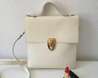 Vintage white embossed Croc shoulder bag
