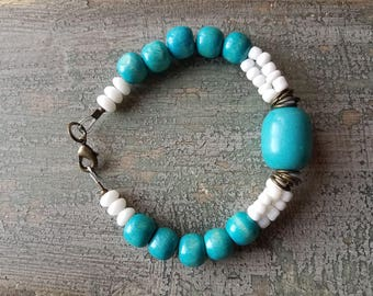 Turquoise and White Beaded Handcrafted Bracelet