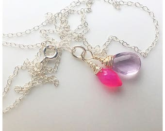 Sterling silver necklace hot pink chalcedony and amethyst gemstones