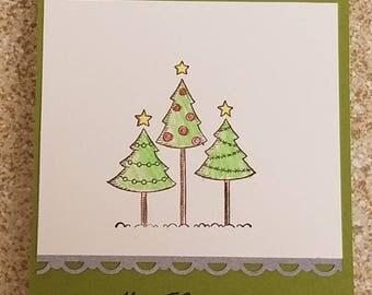 Christmas tree greetings, pack of 5 cards